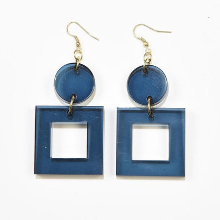 Peacock Lucite Square Dangle Earrings 2.5""