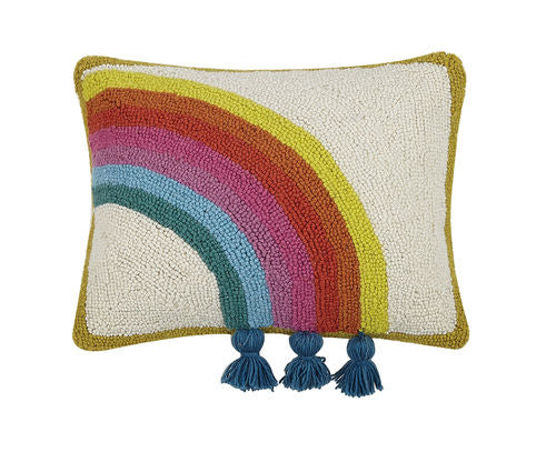 Rainbow Hook Pillow with Tassels