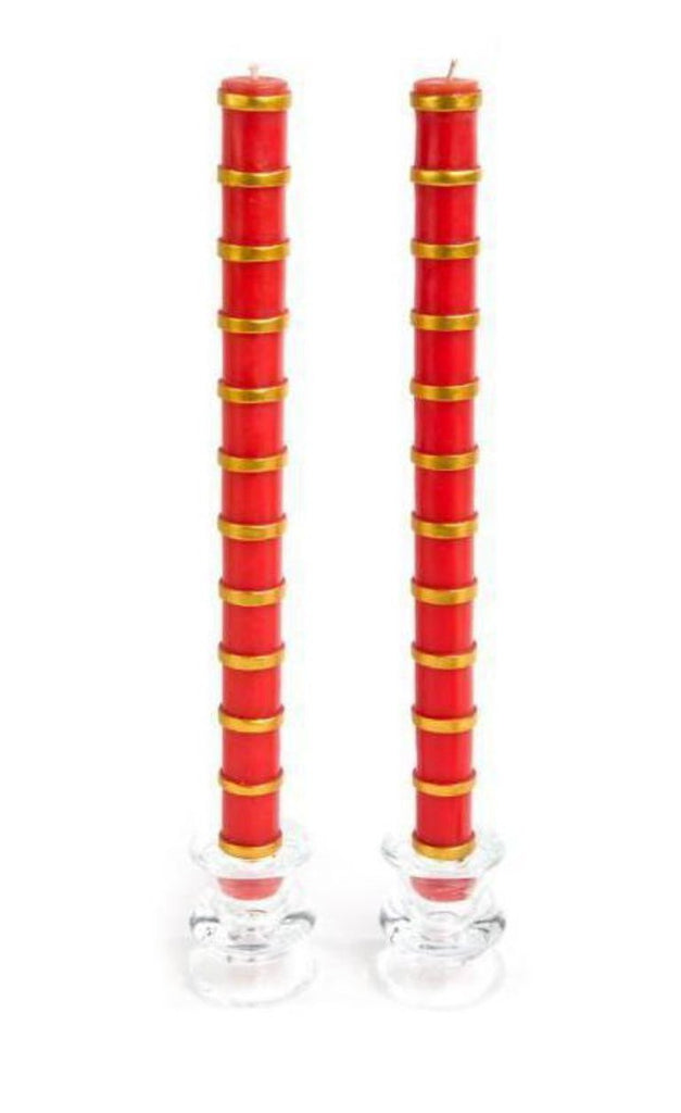 Red & Gold Band Taper S/2 Candles