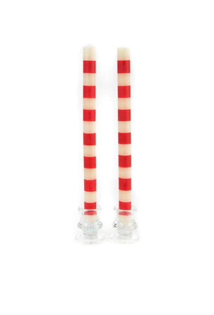 Red and White Stripe Taper Candles S/2