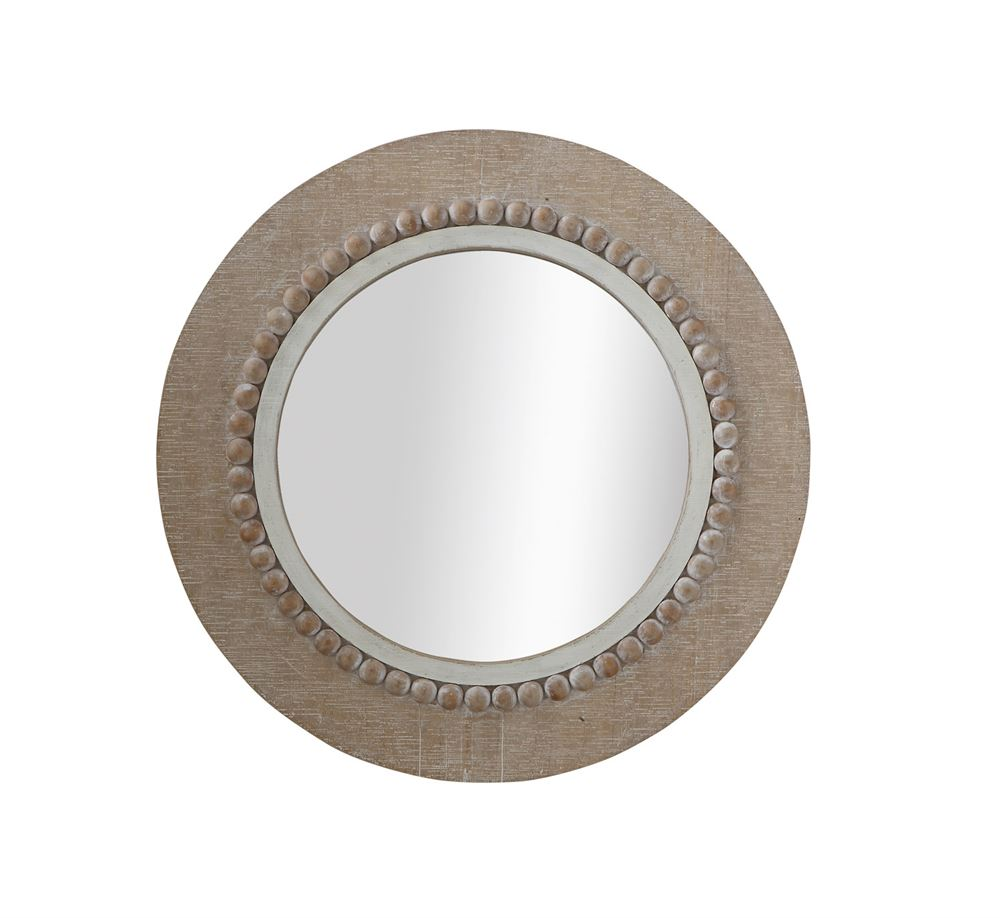 Round Brushed Wood Wall Mirror 23.5""