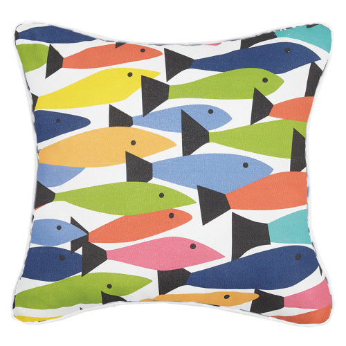 Fish School Colorful Square Pillow 20 X 20""