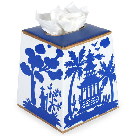 Shanghai Tissue Box Cover - Blue