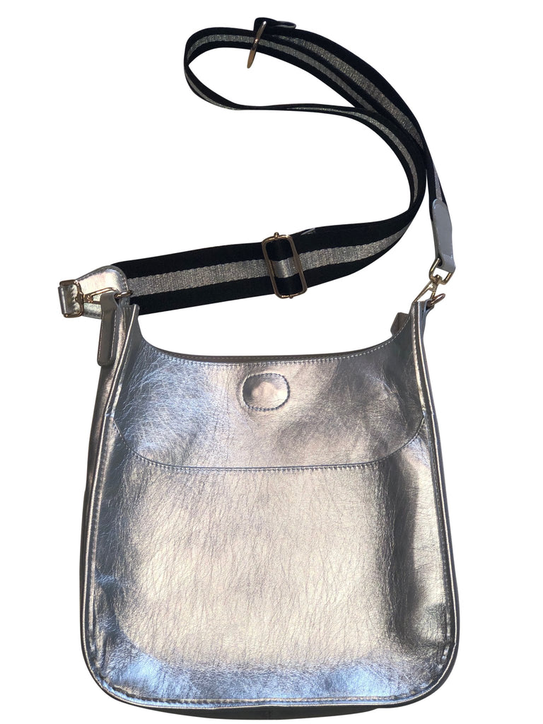 Shiny Silver Messenger Bag w/ Stripe Strap