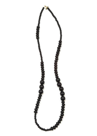 Black Wood Long Single Strand Necklace 44""