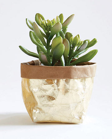 Small Metallic Gold Washable Paper Basket