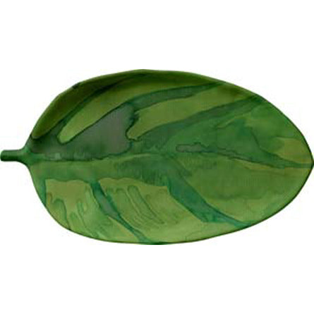 TROPICAL LEAF 18 X 10 IN SERVING TRAY - GREEN LEAF