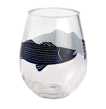 Striper Fish 15oz Stemless Wine Melamine