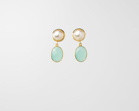 Gemma Piccola Earrings (Aqua Chalcedony Charms)