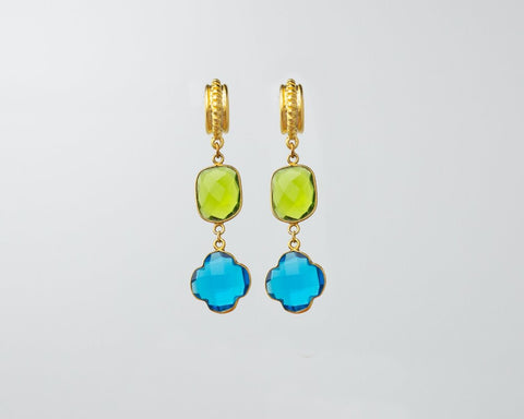 Praiano Earrings (Peridot and Swiss Blue Topaz Charms)