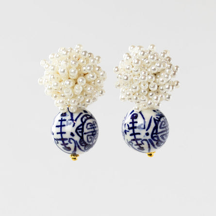 Chinoiserie with Pearl Burst Earrings
