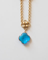 Quadrifoglio Necklace (Swiss Blue Topaz Charm)