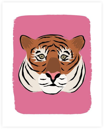 Pink Tiger FACE Art Print 8x10