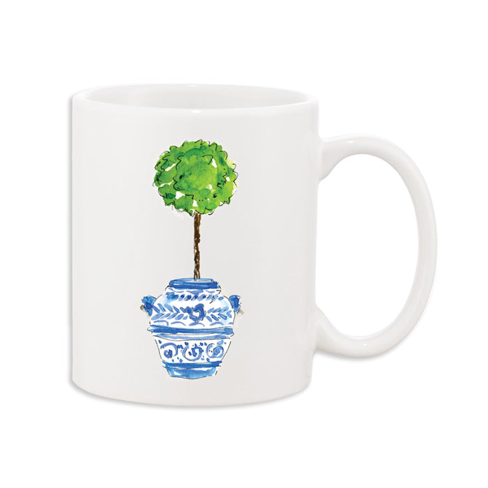 Topiary In Blue Urn Coffee Mug
