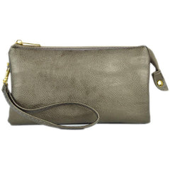 Newbury Crossbody Metallic Pewter Clutch
