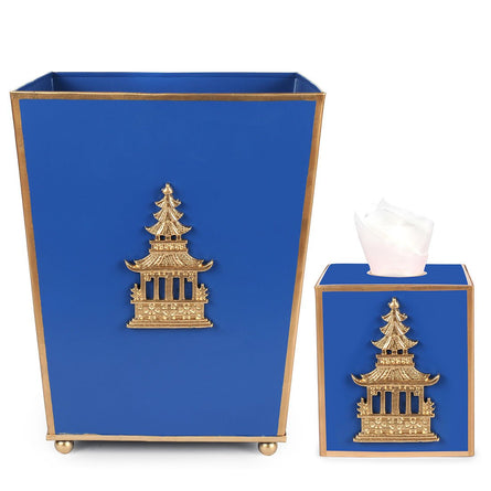 Regency Navy Pagoda  WASTEBASKET