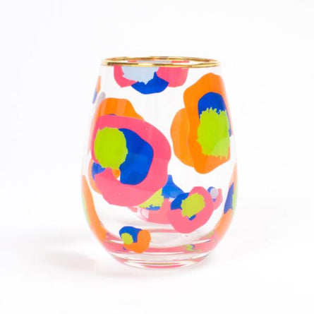 Emily McCarthy Stemless Wine Glass In Cheetah Spot