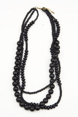 Wood Necklace- 3 Strand Black Wood Beaded