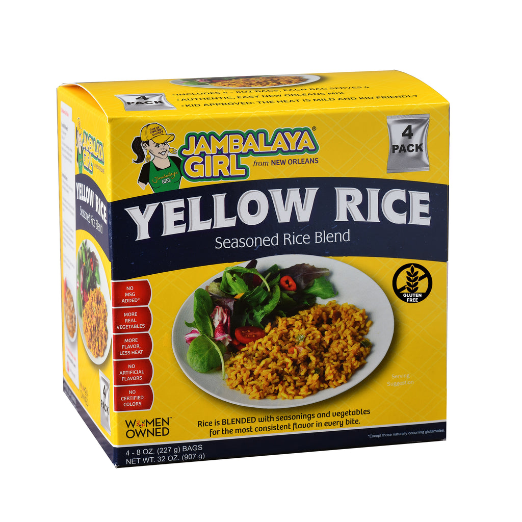 Jambalaya Girl Yellow Rice Seasoned Rice Blend, 8 oz (4 pack) • Gluten Free • Seasoned with Turmeric