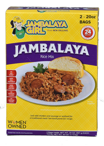 "Jambalaya Girl Jambalaya Seasoned Rice Blend, 20 oz ""Party Size"" (2-20 oz Bags in 1 Box)"
