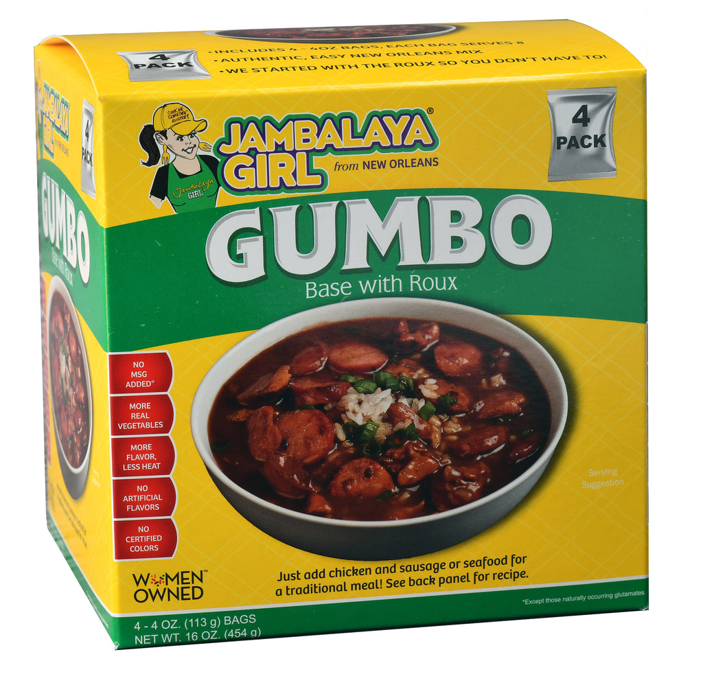 Jambalaya Girl Gumbo Base with Roux, 4 oz (4 pack)