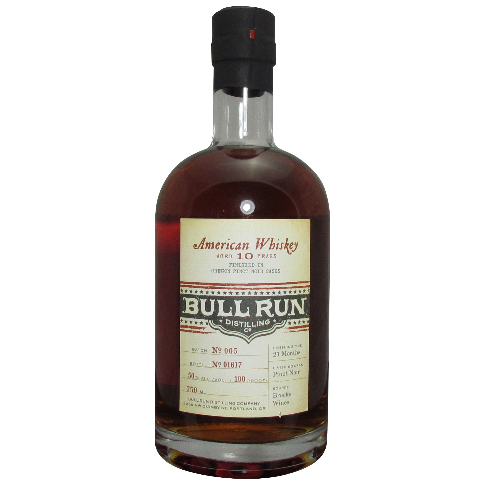 Bull Run Distilling Company Pinot Noir Finished American Whiskey 100 Proof
