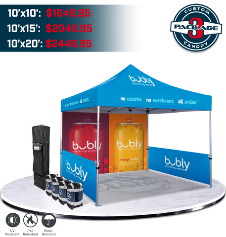 Custom Canopy Tent Package #3 | Branded Graphic Trade Show Pop Up Tent | Deluxe Canopy