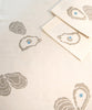 Oyster printed table linens. 100% cotton. Made in USA.