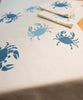 Blue crabs printed table linens. 100% cotton. Made in USA