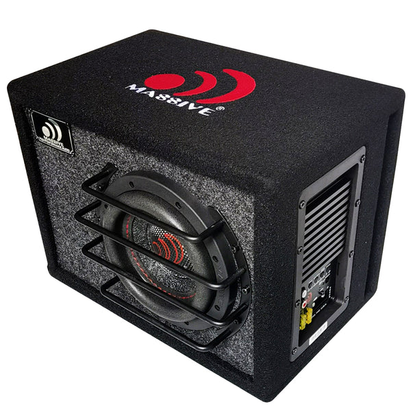 "BAS6 - 6.5"" 250 Watts RMS Powered Subwoofer in Ported Enclosure, Clip LED, Bass Boost, 180º Phase Shift"