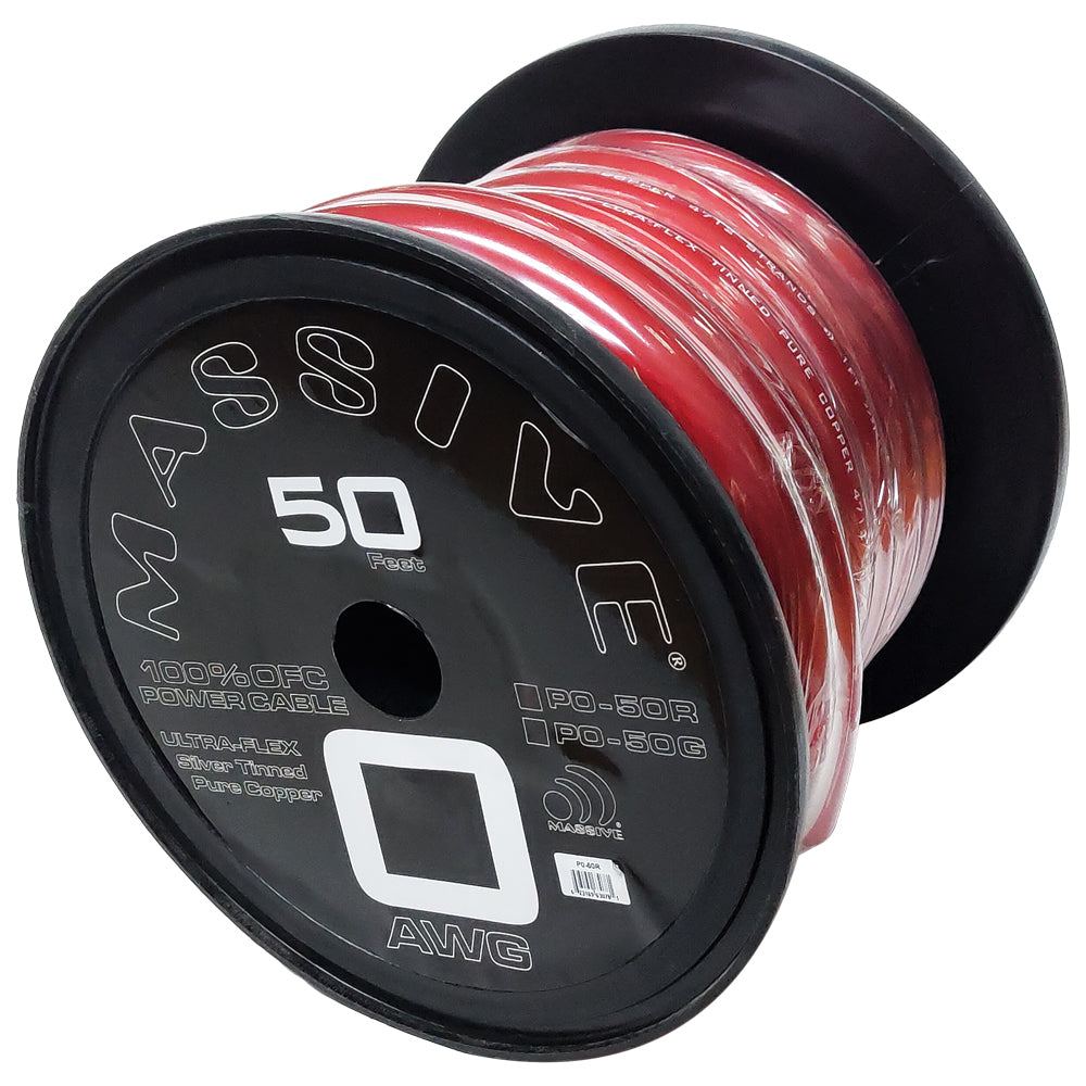 P0-50R - 0 AWG 50 Foot Red 100% Copper Oxygen Free Silver Tinned Twisted Spool Wire