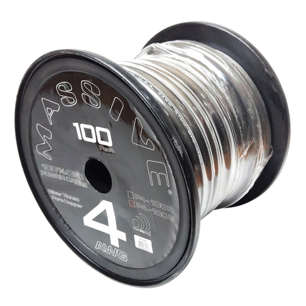 P4-100G - 4 AWG 100 Foot Grey 100% Copper Oxygen Free Silver Tinned Twisted Spool Wire