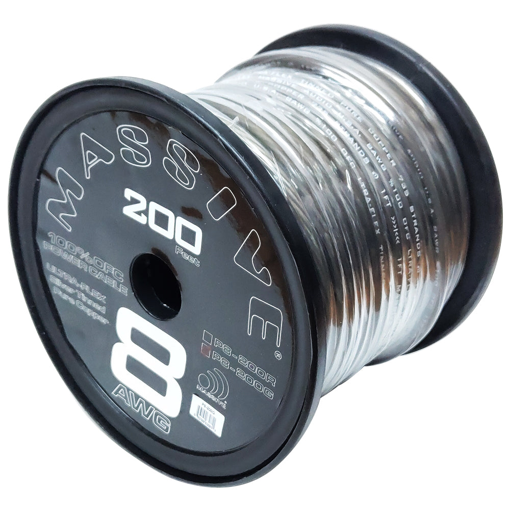 P8-200G - 8 AWG 100 Foot Grey 100% Copper Oxygen Free Silver Tinned Twisted Spool Wire