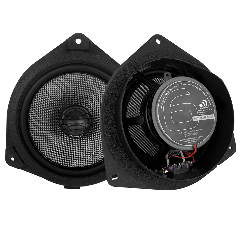 Massive Audio TOY6X - 6.5 Inch, Toy-o-ta Drop-in OEM Speaker Upgrade Replacement, 80 Watts RMS - 160 Watts MAX, Plug and Play Coaxial Speakers.