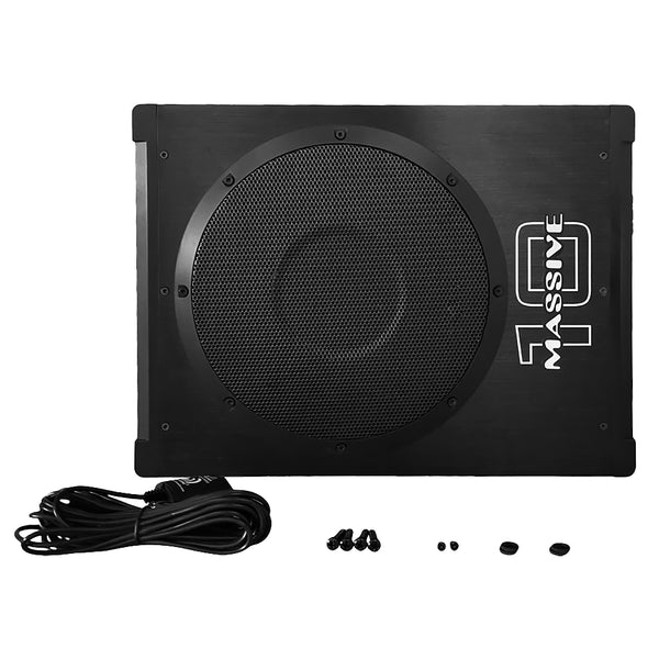 "BOOM10 - 10"" 300 Watts RMS Hideaway Under Seat Powered Subwoofer, Clip LED, Bass Boost, 180º Phase Shift"