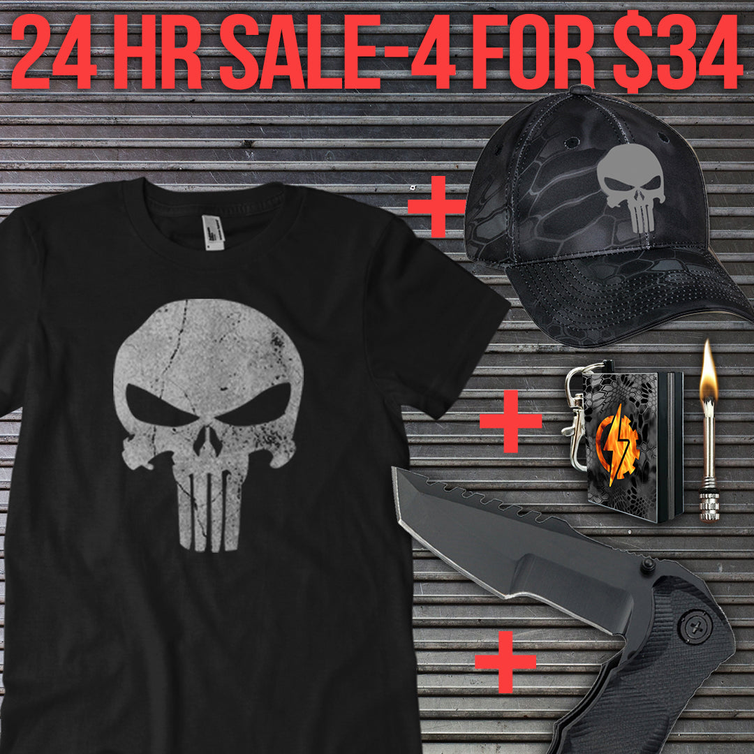 Black Camo Punisher Package 4 for $34