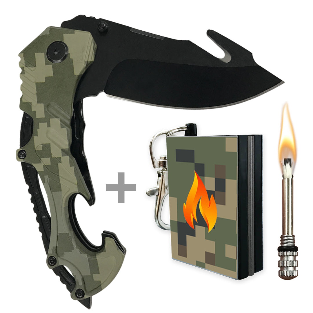 camo knife with camo fire starter