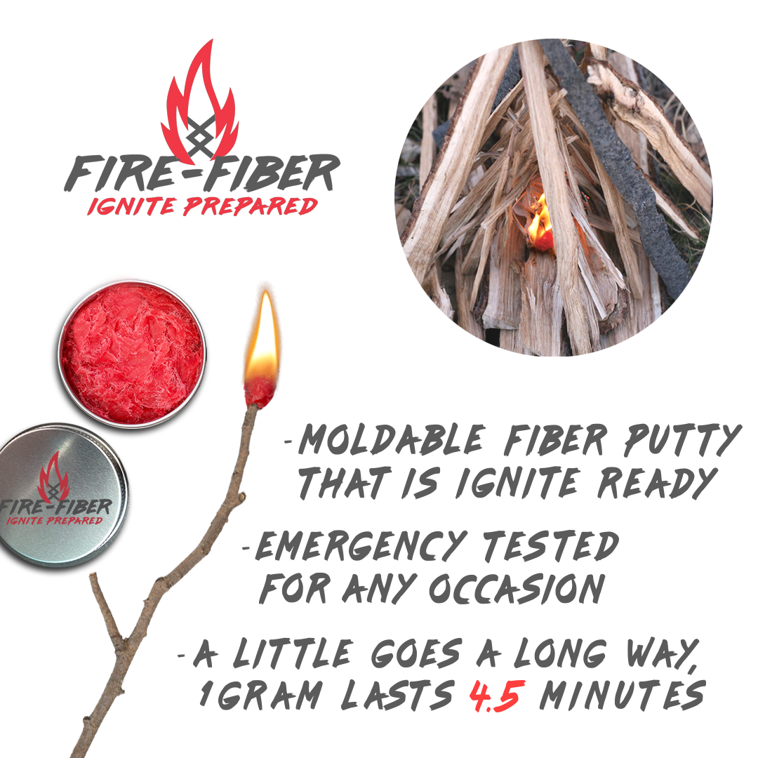 Fire-Fiber Moldable Fire Starter Putty for Emergency Survival Kit, Camping, Backpacking, Hunting, and Outdoors Adventuring Gear