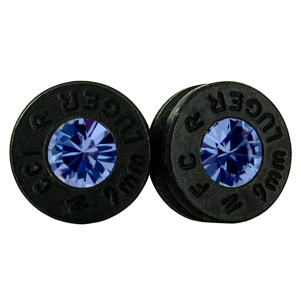 black sapphire bullet earrings