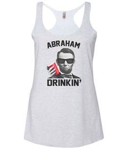 abraham drinkin white tank top