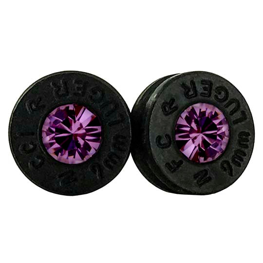 amethyst bullet earrings, hand made in America from 9mm bullet shell casings.