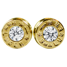 Brass Diamond 9mm Bullet Earrings