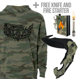camo hoodie and camo knife package