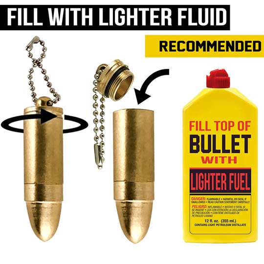 bullet lighter instructions and recommendations for survival use and emergency starter tips.