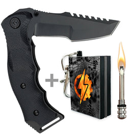 hunting pocket knife with fire starter