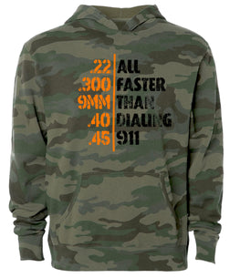 faster than 911 camo hoodie