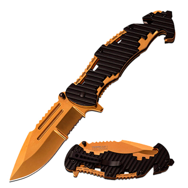 gold pocket knife with can opener and glassbreak