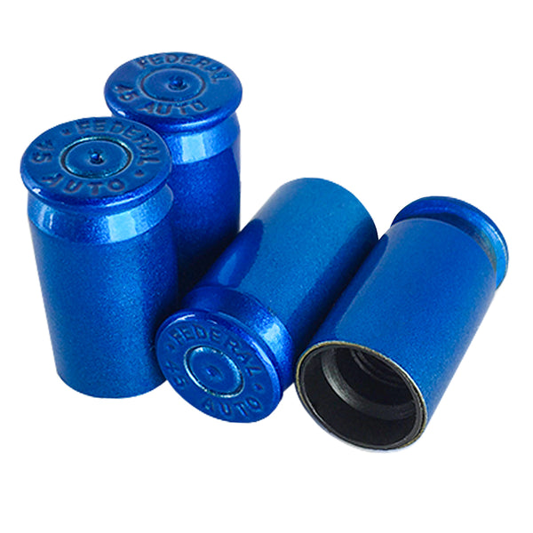 metallic blue bullet valve stem caps