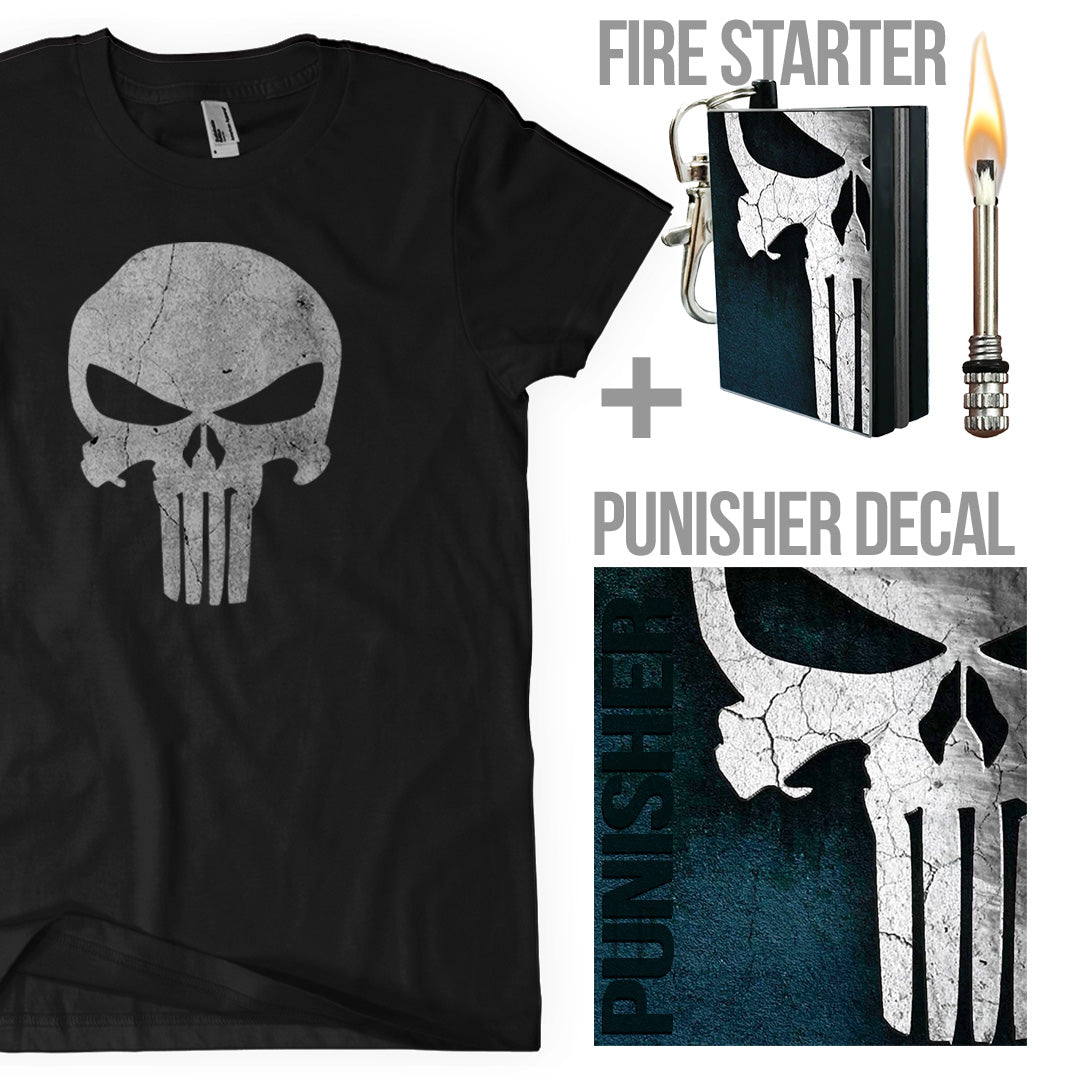 the punisher decal and t shirt package