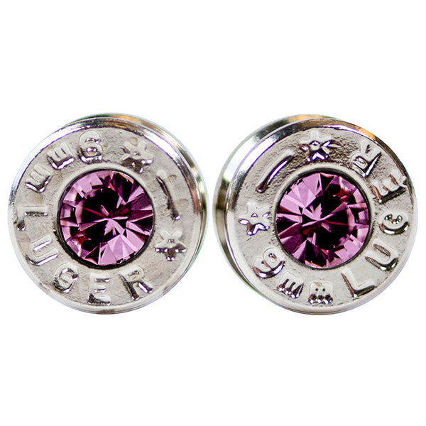 silver amethyst bullet earrings
